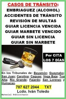 CASOS DE TRÁNSITO Y EMBRIAGUEZ (ALCOHOL)