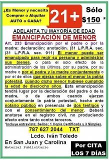 EMANCIPACIÓN DE HIJO(A) MENOR DE EDAD SÓLO $150
