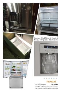 Kenmore Elite 28 cu ft stainlees steel refrigerator