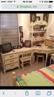 Juego de cuarto 6 piesas con cama tween decorado para una joven y otros muebles  oportunidad