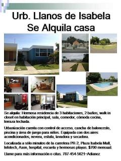 Alquiler de Casa Urb. Llanos de Isabela