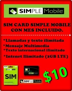 Sim Simple mobile + mes gratis