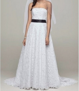 Beaded Corded Lace A-Line Wedding Gown