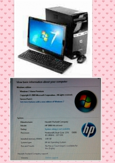 PC-HP, con Windows 7, Mesa, Monitor, Impresora, Bosinas