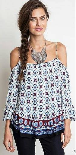 Off shoulder Print navy & wine blouse
