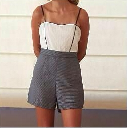 White and Navy Blue Romper...