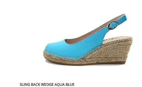 Sling Back Acua Blue Wedge