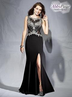 traje de gala en negro y plateado
