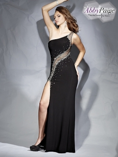 One shoulder stretch jersey prom gown with fish net, crystal beads, straps on open back, slit at front skirt, and sweep train.