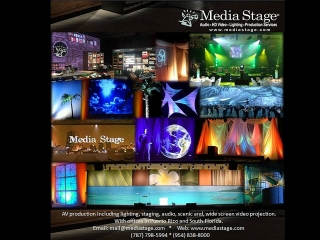 AV production including lighting, staging, audio, scenic and, wide screen video projection