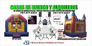 Alquiler de casas de brinco inflables sillas mesas pop corn DJ