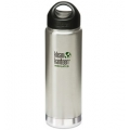 Brushed Stainless - Klean Kanteen - 20 oz Wide Mouth Loop Cap Insulated Bottle - Brushed Stainless