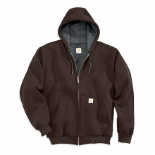 Men's J149 Thermal-Lined Hooded Zip-Front Sweatshirt Dark Brown M