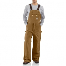 Men's Duck Zip-to-Thigh Bib Overall Quilt Lined Pants