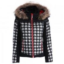Raven Insulated Ski Jacket Women's, Chidori White/Black/Electric Red, 10 by Descente