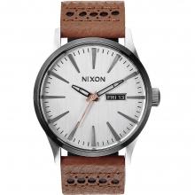 Sentry Leather Watch Mens - Gunmetal/Navy by Nixon