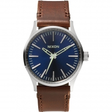 Sentry 38 Leather Watch Mens - Blue/Brown by Nixon