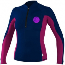 Front Zip Long Sleeve Crew - Women's: Black/Apple, Small by O'Neill