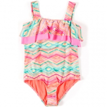 Sunsets Ruffle One Piece - Girl's: Coral, 7 by O'Neill
