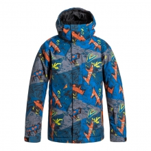 Boys Mission Print Jacket - Closeout Olympia Plue - Stripe by Quiksilver