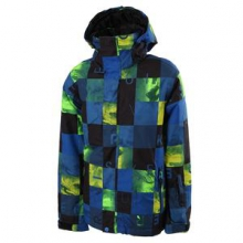 Mission Print Insulated Snowboard Jacket Boys', Check Kasper/Snow Blue, L by Quiksilver