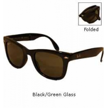 4105 Wayfarer Folding Classic Polarized Sunglasses - Black/Green Glass by Ray Ban