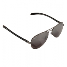 8307 Carbon Fiber Aviator Sunglasses - Gunmetal/Grey Silver