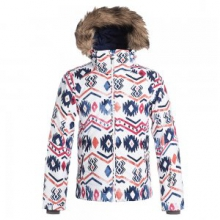 American Pie Insulated Snowboard Jacket Girls', Waterinca/Bright White, L by Roxy
