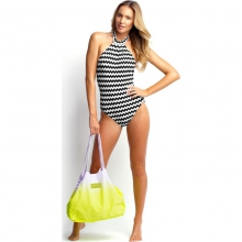 Womens Mod Club High Neck Maillot - Sale Black/White 06 by Seafolly