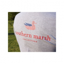 Mens Authentic Flag Tee Light Gray Medium by Southern Marsh
