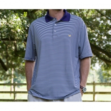 The Bermuda Performance Polo - Striped - Closeout Purple & White by Southern Marsh