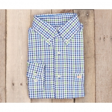Mens Cashiers Washed Gingham - New Navy and Green Small