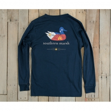 Mens Louisiana Long Sleeve Tee - New Navy Small by Southern Marsh