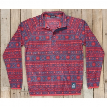 Mens Alpine Fleece Pullover - New Navy and Red X Small