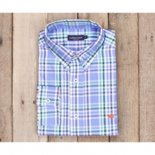 Mens Fairley Plaid Dress Shirt - New Lilac and Dark Green
