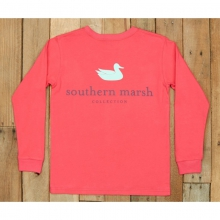 Youth LS Authentic Tee - New Strawberry Fizz Small by Southern Marsh