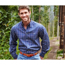 Mens Catahoula Tattersall - New Navy and Green Small by Southern Marsh