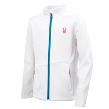 Endure Full-Zip Mid-Weight Core Sweater Girls', White/Riviera/Girlfriend, XXL by Spyder