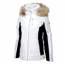 Womens Diamond Real Fur Jacket - Closeout White/Black 04