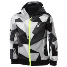 Invert Softshell Jacket Boys', Black Faceted Print/Bryte Yellow, L by Spyder