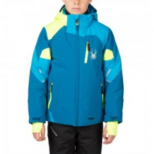 Leader Insulated Ski Jacket Boys', Concept Blue/Electric Blue/Bryte Yellow, 18
