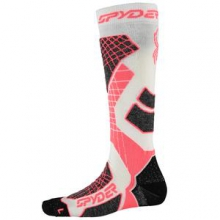 Zenith Ski Sock Women's, White/Bryte Pink/Black, L by Spyder