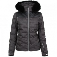 Falline Real Fur Insulated Ski Jacket Women's, Black/Denim, 12 by Spyder
