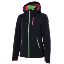 Pandora Insulated Ski Jacket Women's, Black/Green Flash/Bryte Pink, 10
