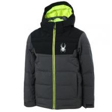 Clutch Down Ski Jacket Boys', Polar/Black/Bryte Yellow, 16