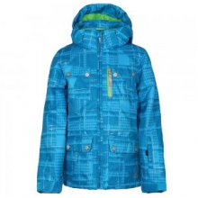 Evar Insulated Ski Jacket Girls', Riviera Check Plaid Print/Green Flash, 14