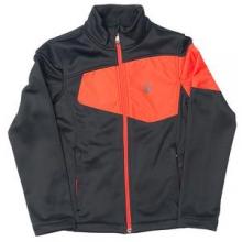 Acceler Fleece Mid-Layer Jacket Boys', Polar/Bryte Yellow/Theory Green, XL by Spyder