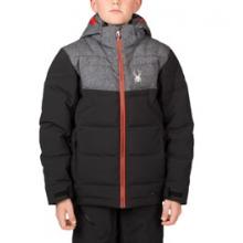 Clutch Down Ski Jacket Boys', Black/Herringbone Polar/Red, 10 by Spyder