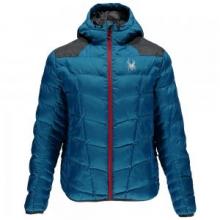 Geared Hoody Synthetic Down Jacket Men's, Electric Blue/Polar Crosshatch/Formula, L by Spyder