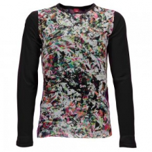 Lively Long Sleeve Tech Tee Girls', Kaleidoscope/Black, L